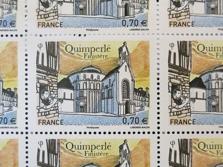 Timbre représentant l'abbaye Sainte-Croix de Quimperlé.