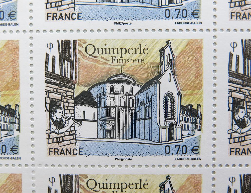 Le motif emblématique choisi pour Quimperlé : l'abbaye Sainte-Croix.