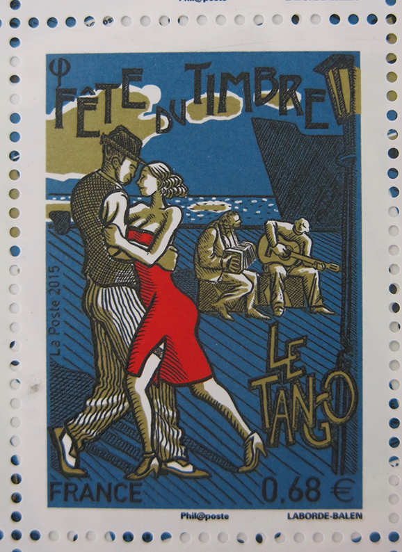 """Timbre de """"La Fête du timbre 2015 - Le Tango""""."""