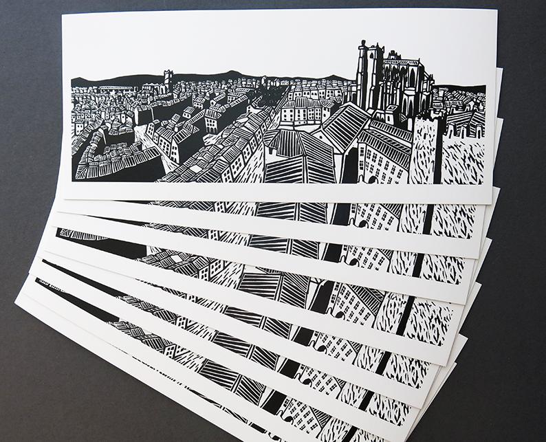 """Carte postale  """"Narbonne"""" pour les  éditions Itinérances. Gravure en taille d'épargne."""