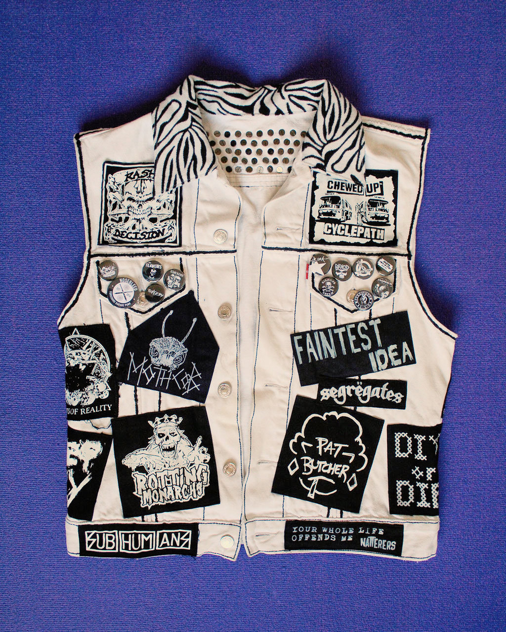 Update on the not-so-white-anymore punk vest - front view before - Zebraspider Eco Anti-Fashion