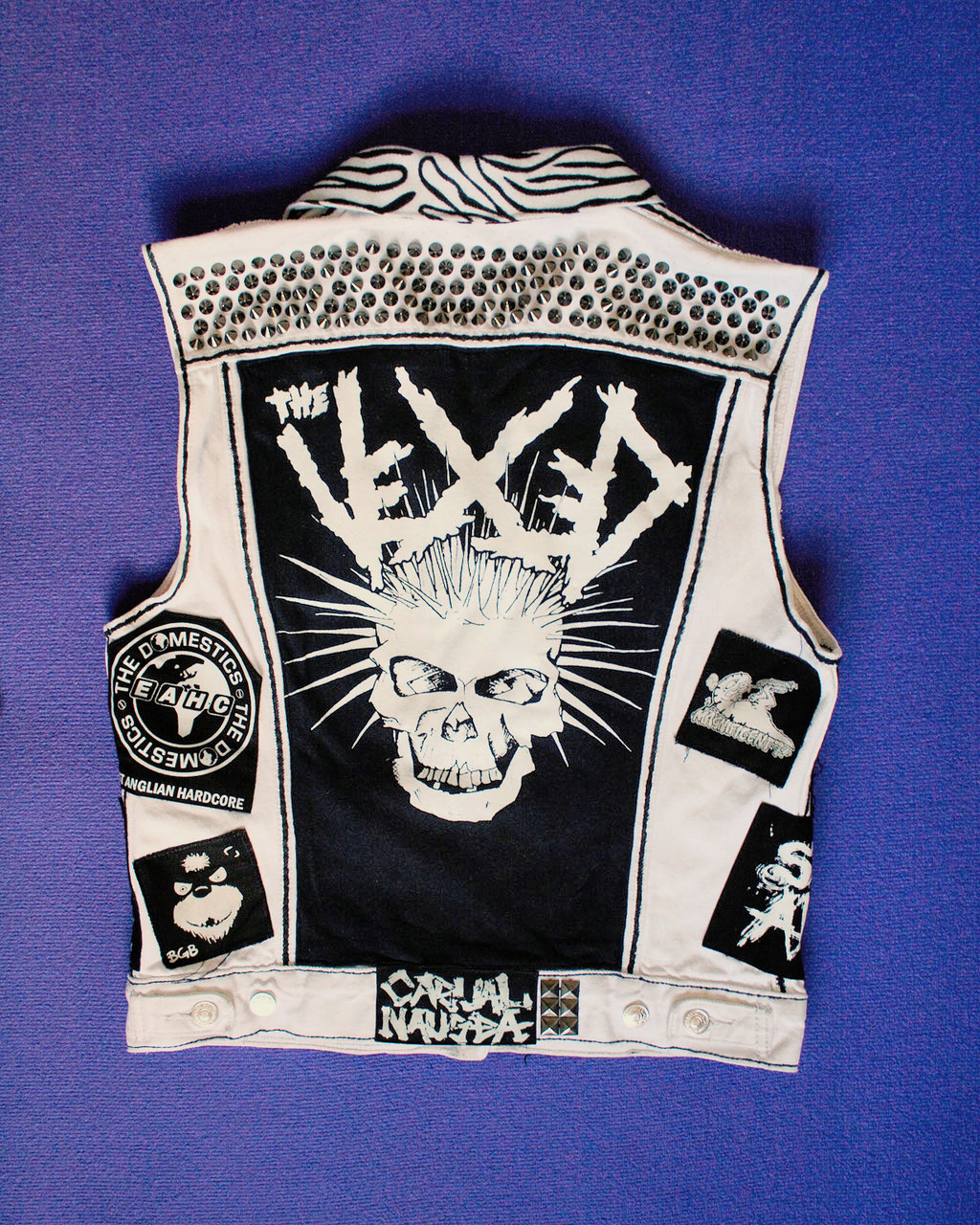 Update on the not-so-white-anymore punk vest - back view before- Zebraspider Eco Anti-Fashion