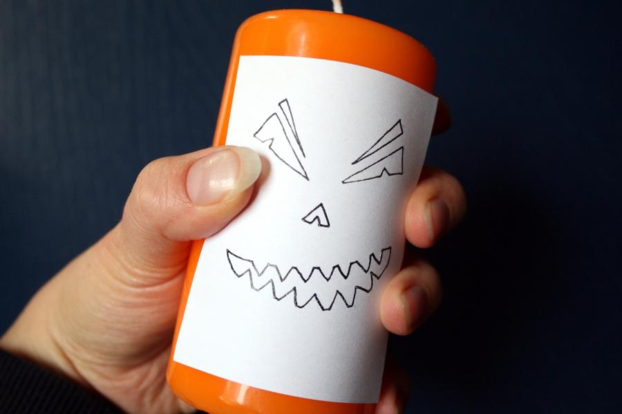 Halloween DIYs Part 1 - jack-o-lantern candle how to - Zebraspider Eco Anti-Fashion