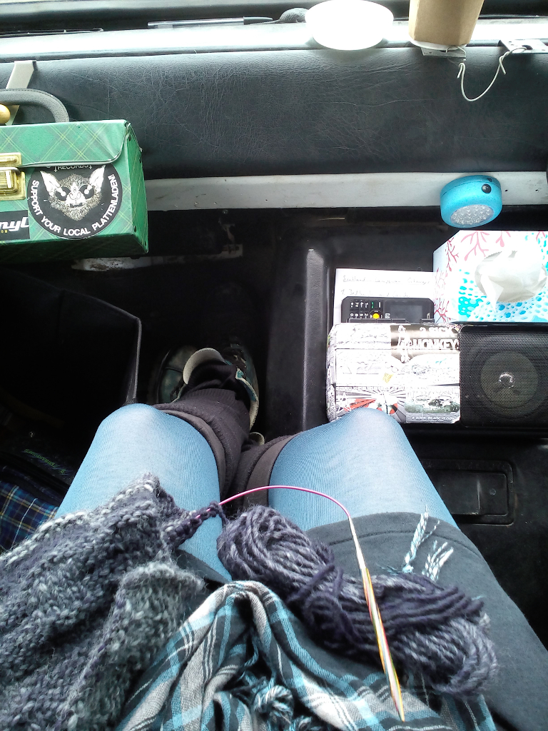 Ein Garn - zwei Strickprojekte - Stricken im Auto unterwegs - Zebraspider DIY Anti-Fashion Blog