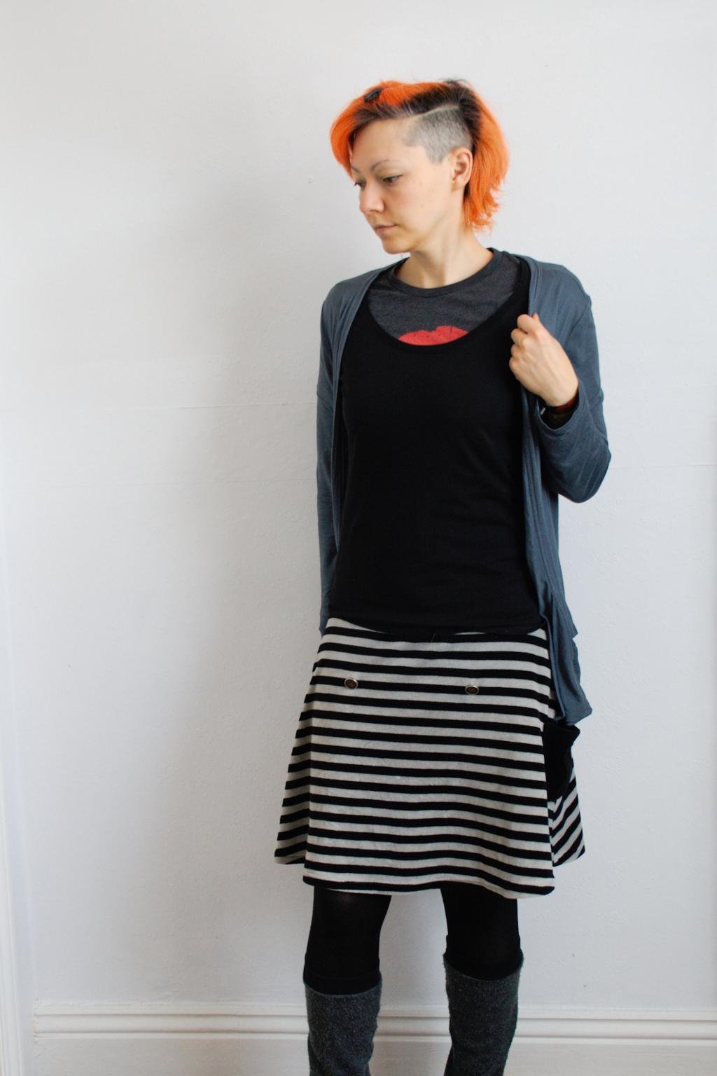 Arbeitsoutfit im englischen Sommer - schwarz und grau - Zebraspider DIY Anti-Fashion Blog