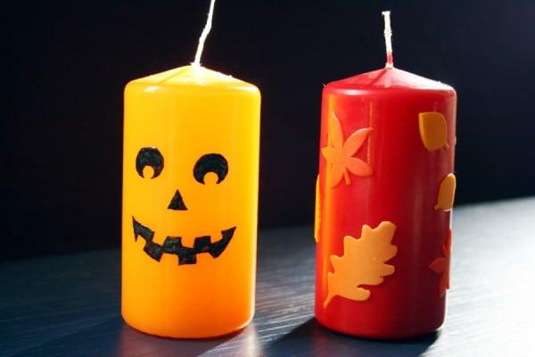 Halloween DIYs Part 1 - jack-o-lantern and autumn leafs candles - Zebraspider Eco Anti-Fashion