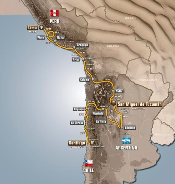 2013 Dakar Rally Race Route