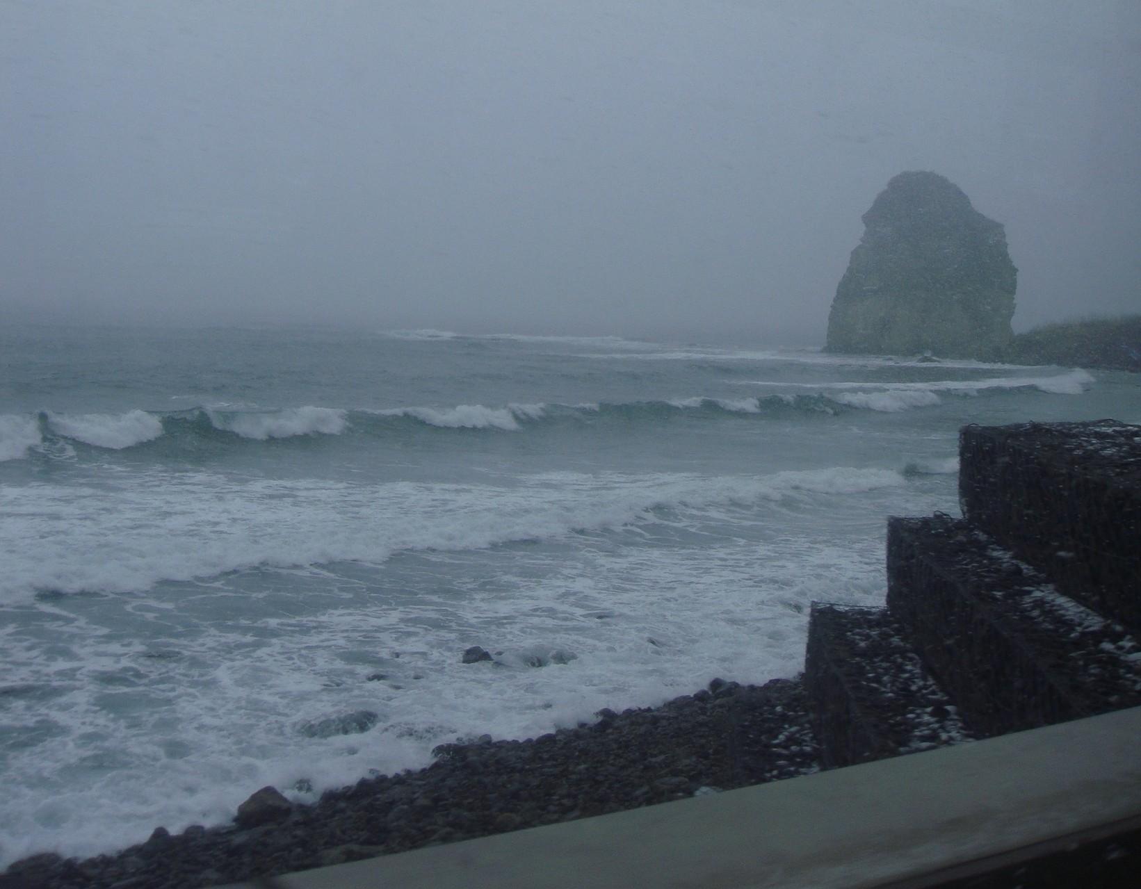At Iwanai town, Hokkaido. Shivering winter. Went for obtaining deep seawater.