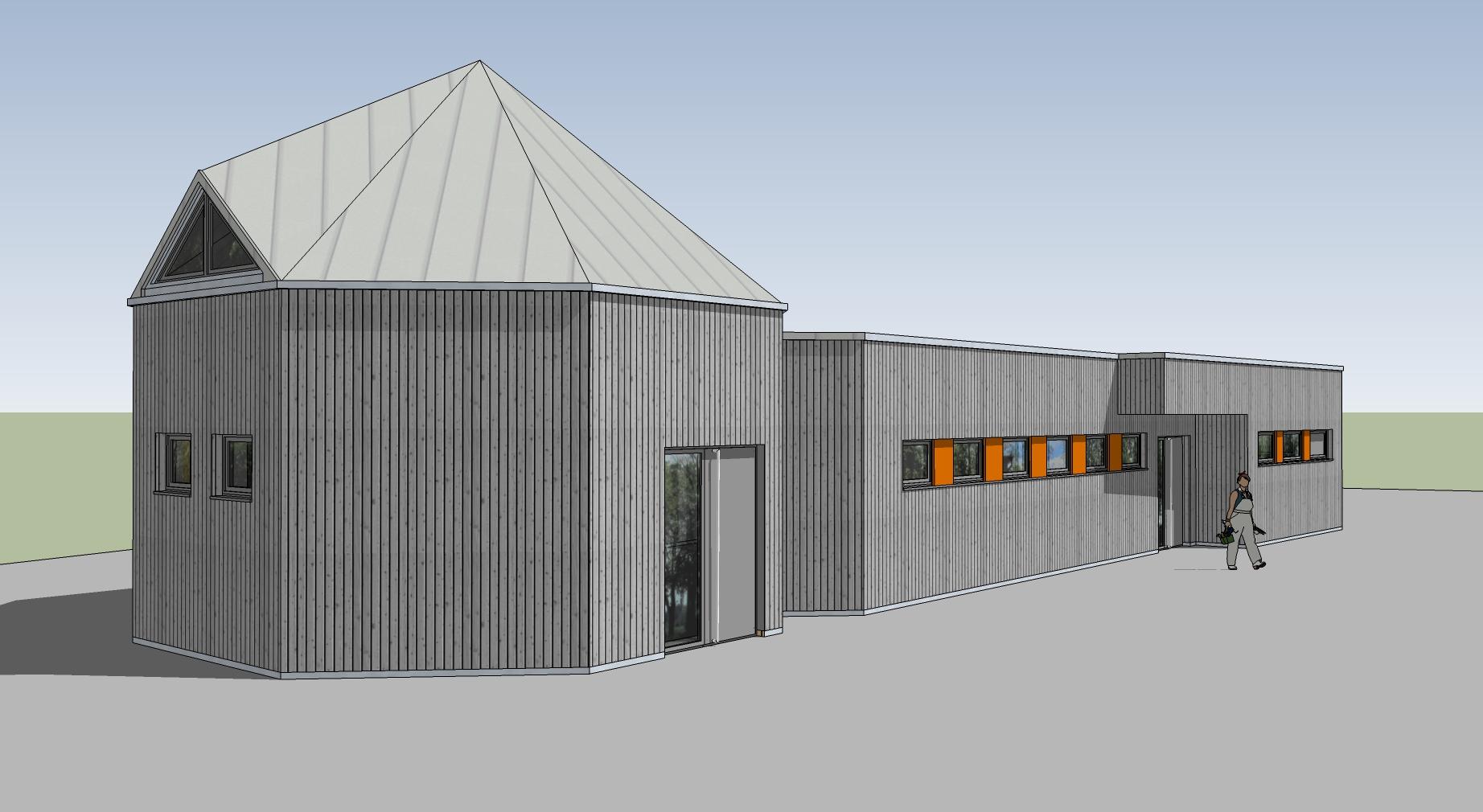 Südseite mit dem bestehenden Pavillon. Auf der rechten Seite wird der Anbau errichtet