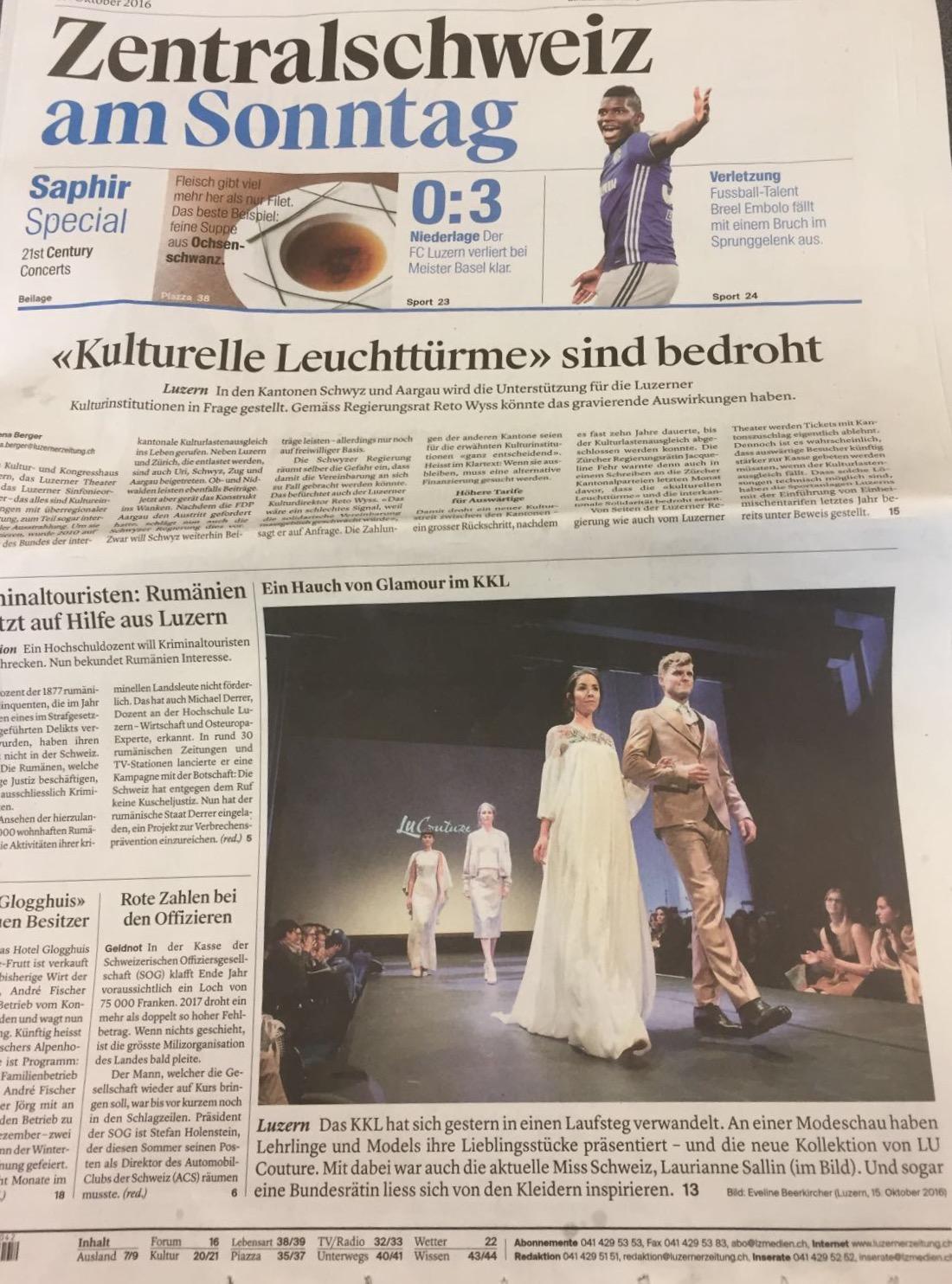 Luzerner Zeitung Lu Couture Model Thomas Odermatt