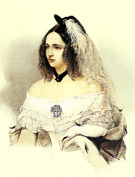 В. Гау. Портрет Н. Н. Пушкиной. 1842-1843. Акварель
