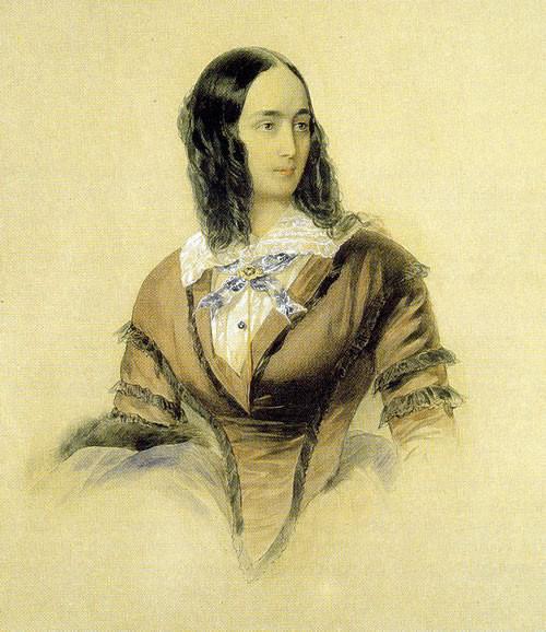 В. Гау. Портрет Н. Н. Пушкиной. 1842. Акварель