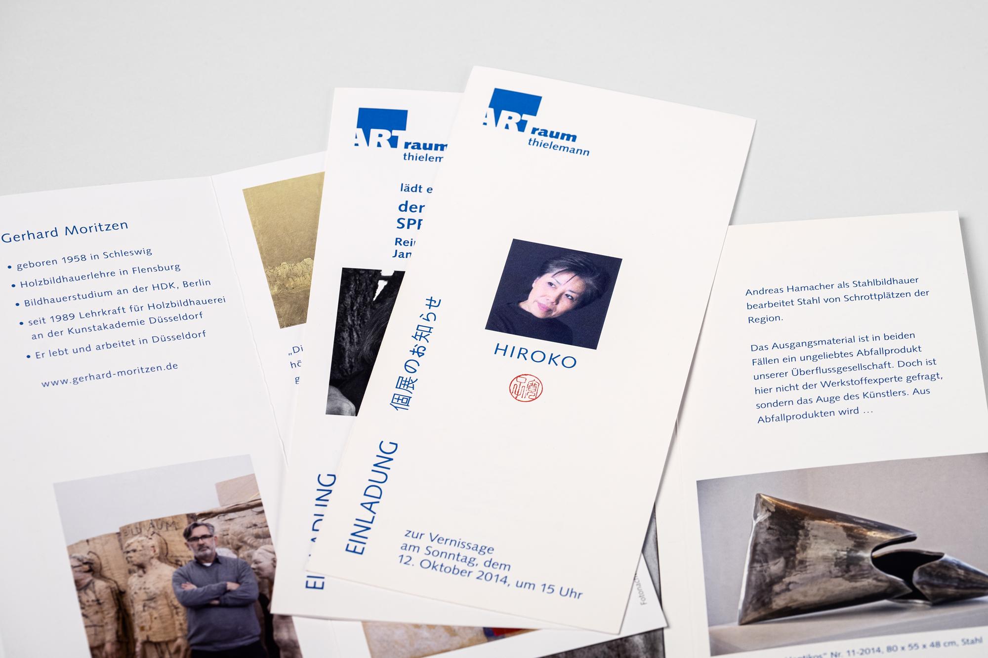 Einladungen für Ausstellungen mit Kurzbeschreibung