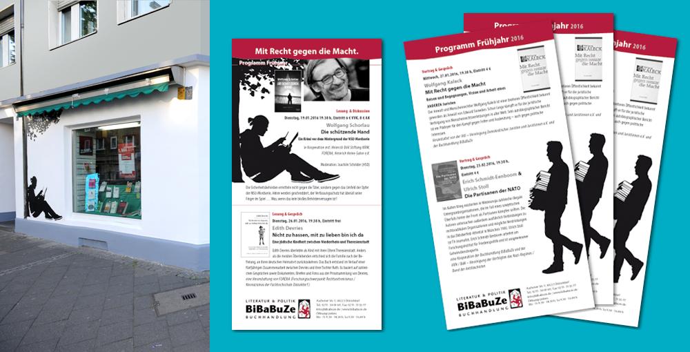 """Fassade und Programm-Flyer der Buchhandlung """"BiBaBuZe"""" am S-Bf Bilk in Düsseldorf"""