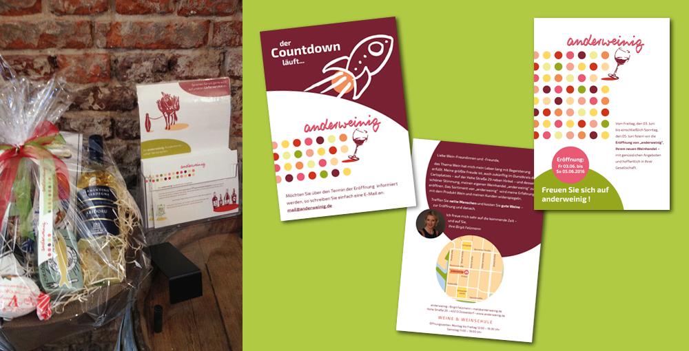 Geschenkband, Antrag für Kundenkarte und Postkarte