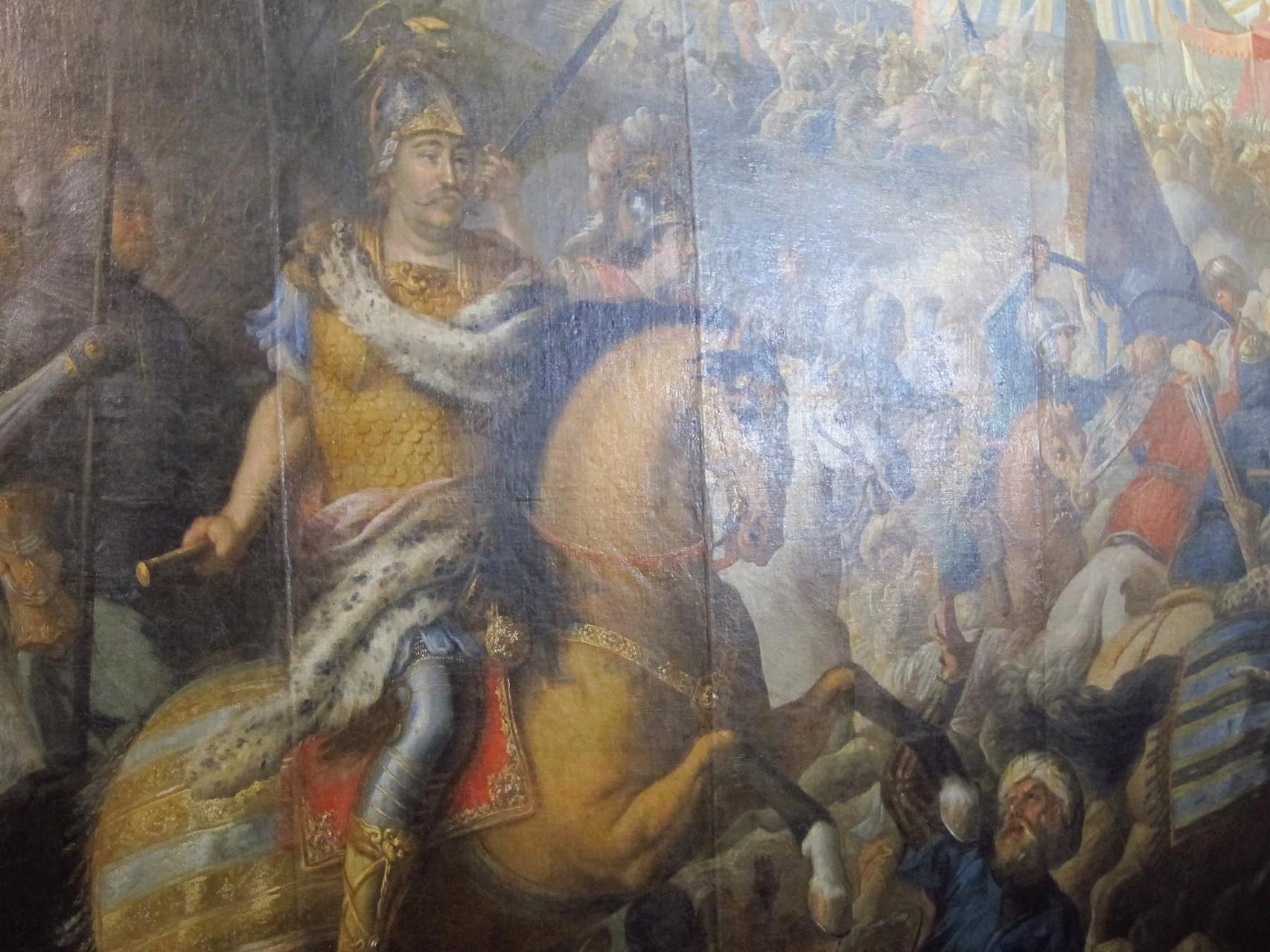 Ян III Собецький. Зображення на панно Віденської битви.