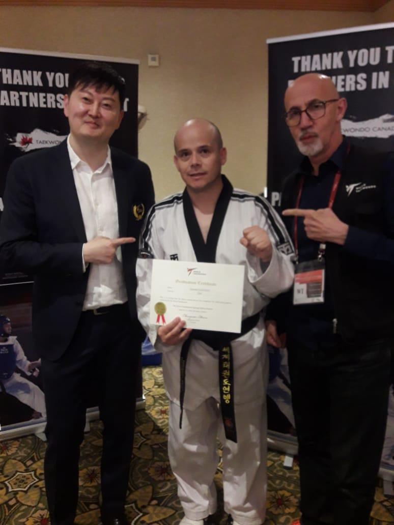 Junto a Master Songchul Kim Referee Chairman WT y Master Philip Boedo Director del depto. de educación de WT.