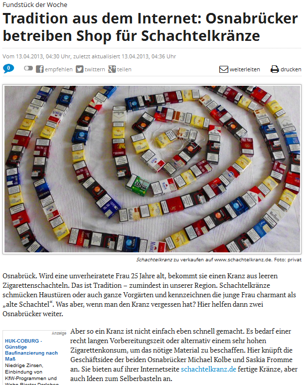 NOZ-Artikel über Schachtelkranz.de