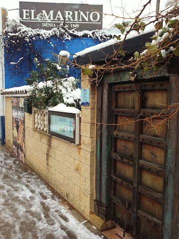 El Marino Rotes tras la nevada en Dénia