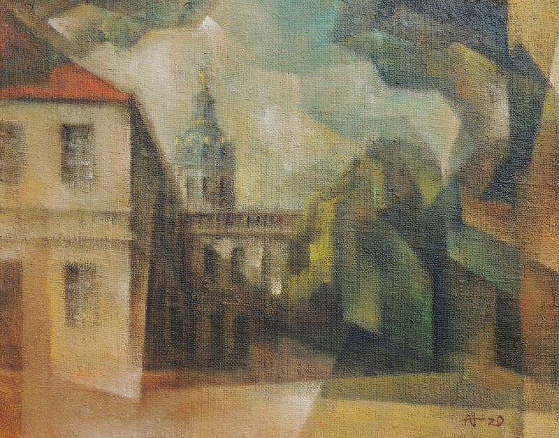 WV 1321, Schloss Charlottenburg, Berlin, 2020, 24x30cm, Öl auf Leinwand
