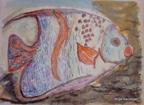 Sei ein lebendiger Fisch, geleicht wird an der Quelle / Aquarellbild.