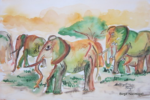 Aquarellbild: Signiert mit dem Namen: Nachtigall> für Tiermotive. Vom 02/10/ War gedacht nach eine Veranstaltung in Schengen bei zu treten. Es wurden Singelelefanen benötigt. Ich malte immer die GROßfamilie. Größe des Bildes 30x 35 com.