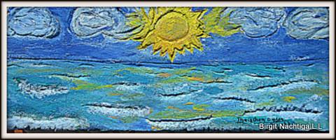 """Auf Ü- Beton gearbeitet, in Ölfarbe. Meereslandschaft, April 2014, mit dem Namen """"Thaischen"""" unterschrieben, unterhalb des Datum ein Fisch, der eine Luftblase ausatmet mit dem Namen: """"Birgit"""""""