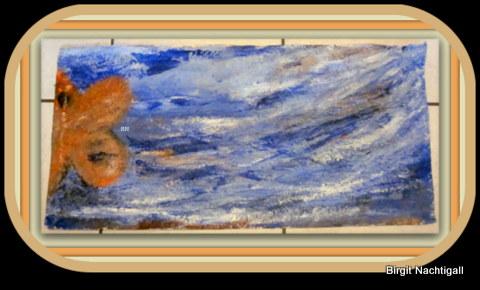 """""""Fisch hinstrebend zur Quelle"""" , Gr. 64,5x 31 cm Acrylfarbe auf Pappmaschee, signiert mit BN/ Dez.  2016 Unter dem Datum ein ausatmender Fisch, in der Luftblase, der Name Birgit  / ohne Rahmung, zur Vergütung meines Hobby """"Missionsreise"""" 200€"""