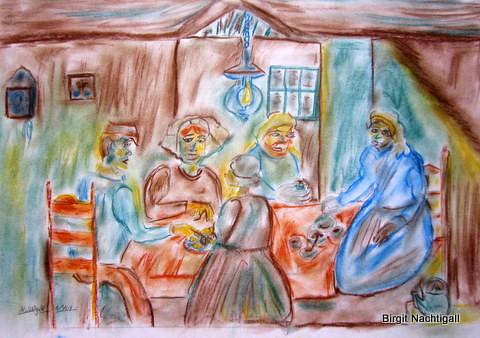 """""""Kartoffelesser"""", von Birgit Nachtigall, Pastellkreide in der Psychatrie gemalt. Themanebezogen= Armut."""