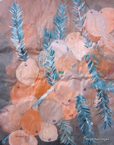 """""""Sanddorn"""" mit Acrylfarbe, auf Pappmasche gemalt"""
