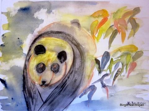 Pandabär Aquarelltechnik, signiert mit Nachtigall Wer Interesse hat, meldet sich bei mir unter: E-Mail: 1adler-nachtigall@web.de