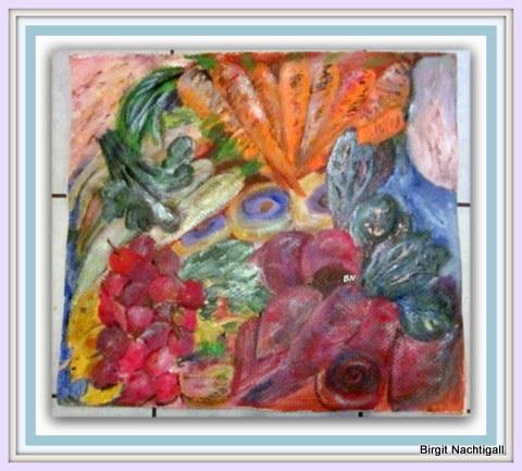 """""""Runkel und Rüben"""" , Größe: ca 54x 54cm, auf Papmasche gemalt, mit Acrylfarbe, Nov. 2016 segniert mit: Paternoster, unter dem Datum eine Luftblase, diese ein Fisch ausatmet. In der Luftblase der Name Birgit"""