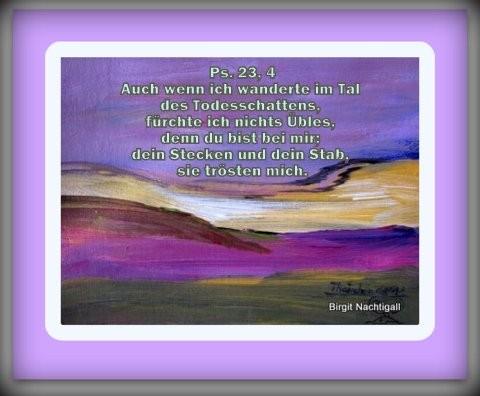 Wenn du den Hirten, in all deine Lebensbereiche einbeziehst, wird er dich durch das finstere Tal führen. Amen!