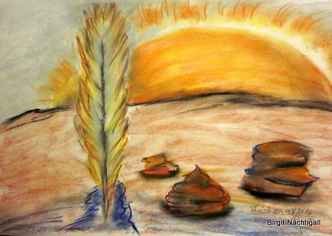 """Aus dem Skizzenblock: """"Feder aufrecht stehen, im Sonnenuntergang"""" Signiert mit: Thaischen 09/ 2016 unter dem Datum ein Fisch, dieser eine Luftblase ausatmet, in der Blase der Name Birgit"""