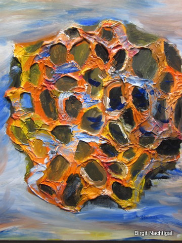 """""""Der Schwamm!"""" Arylfarbe auf gespachtelte Leinwand, in den Farben, braun, gelb, orange, rot, ocka, schwar, blau, apriko. Segniert mit dem Namen Nachtigall am, 05/2006 Größe des Bildes: 70x 60cm."""