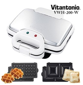 團媽熱銷鬆餅!日本Vitantonio 鬆餅機+鬆餅烤盤+正方形三明治烤盤/VWH-200