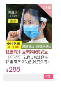 全臉防飛沫透明防護面罩-3入組(防疫必備)