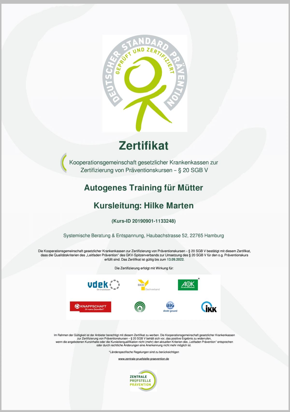 Autogenes Training für Mütter, zertifiziert