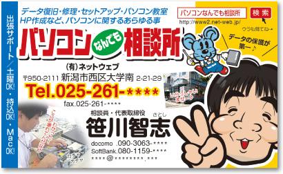 パソコンサポート業さんの売れる名刺【デザイン見本|オモテ面】