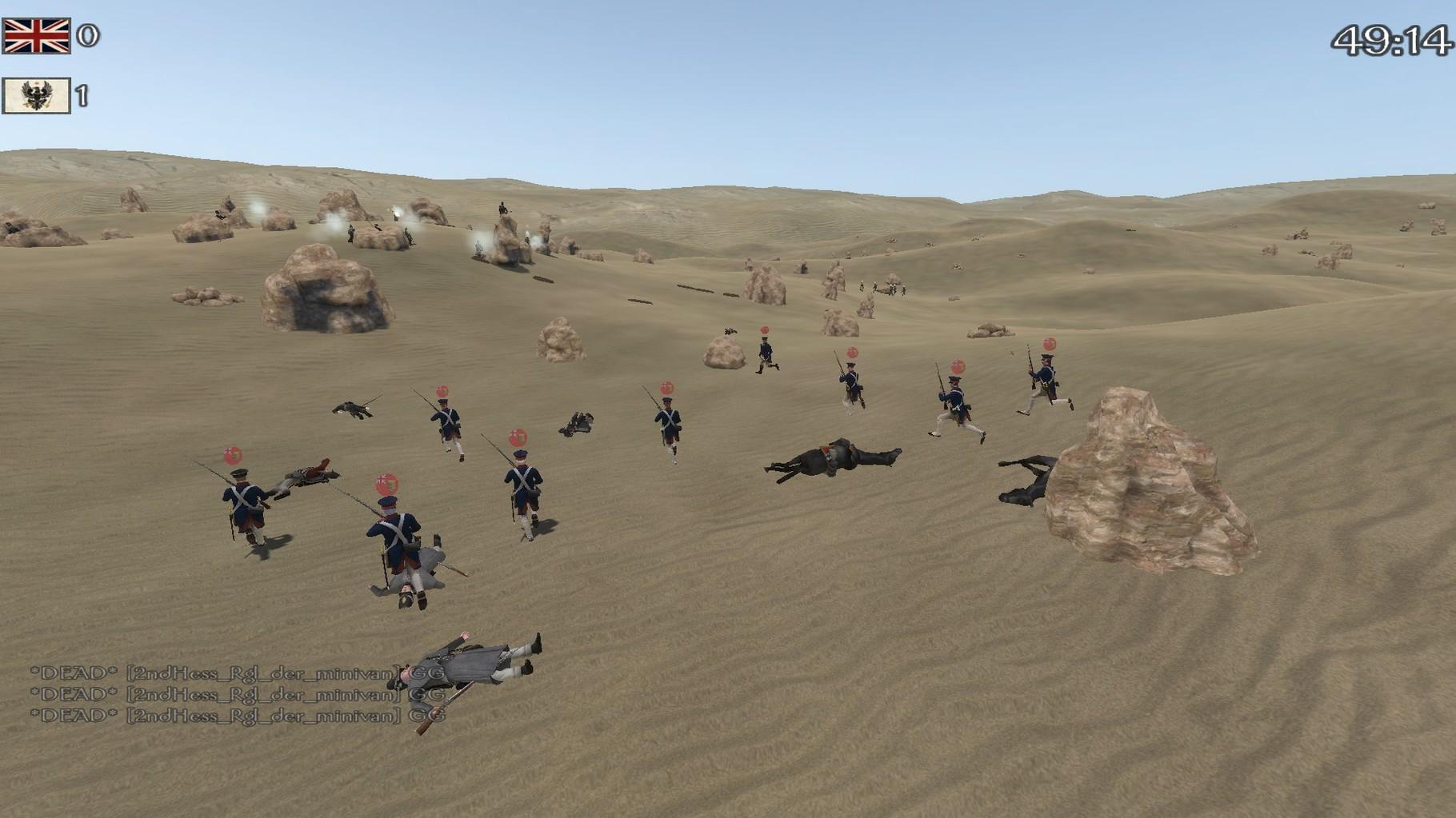 Die Grenadiere beim Angriff.