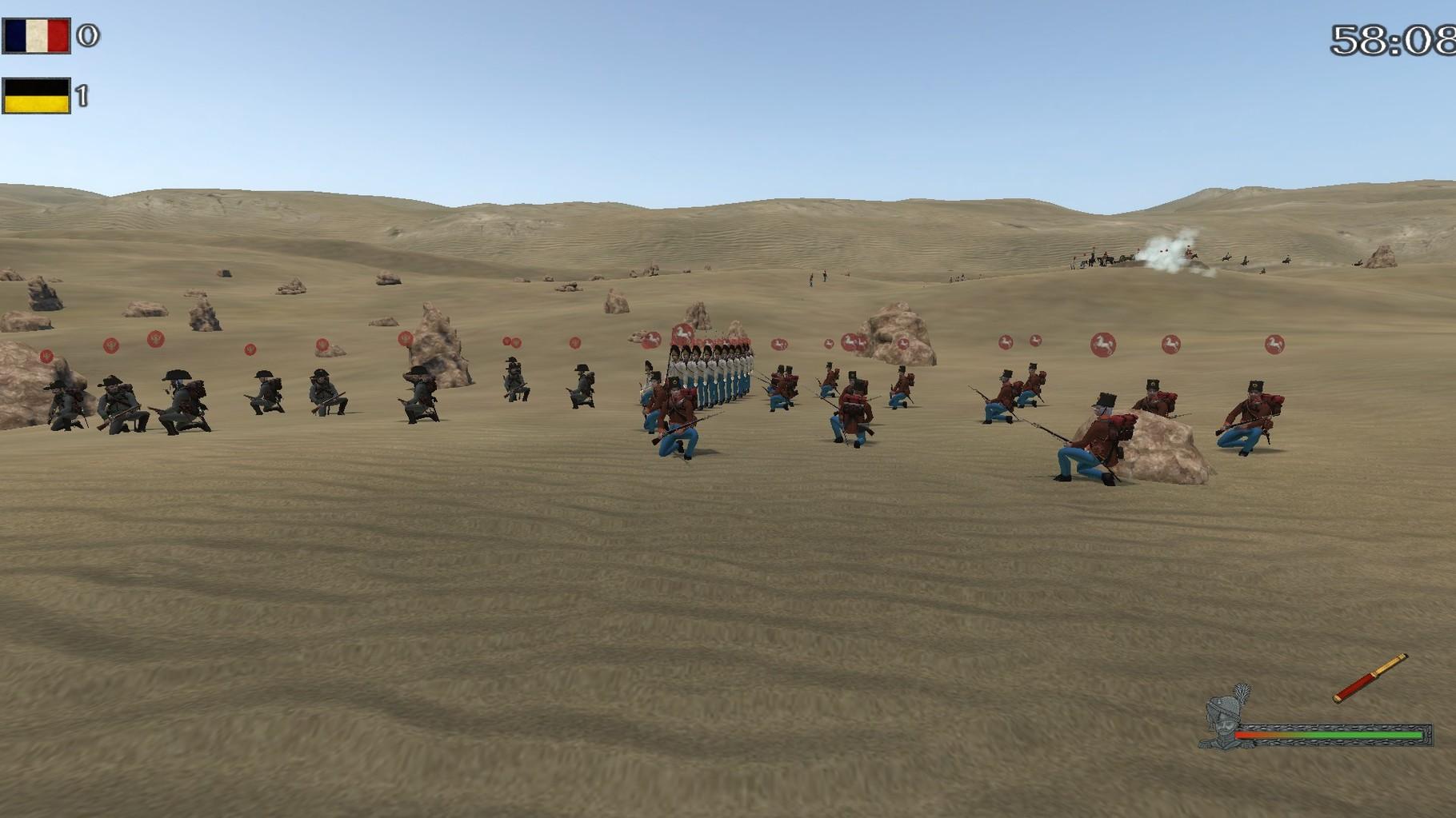 Rechts hinten die Artillerie, davor Jäger, Leichte und Grenadiere.