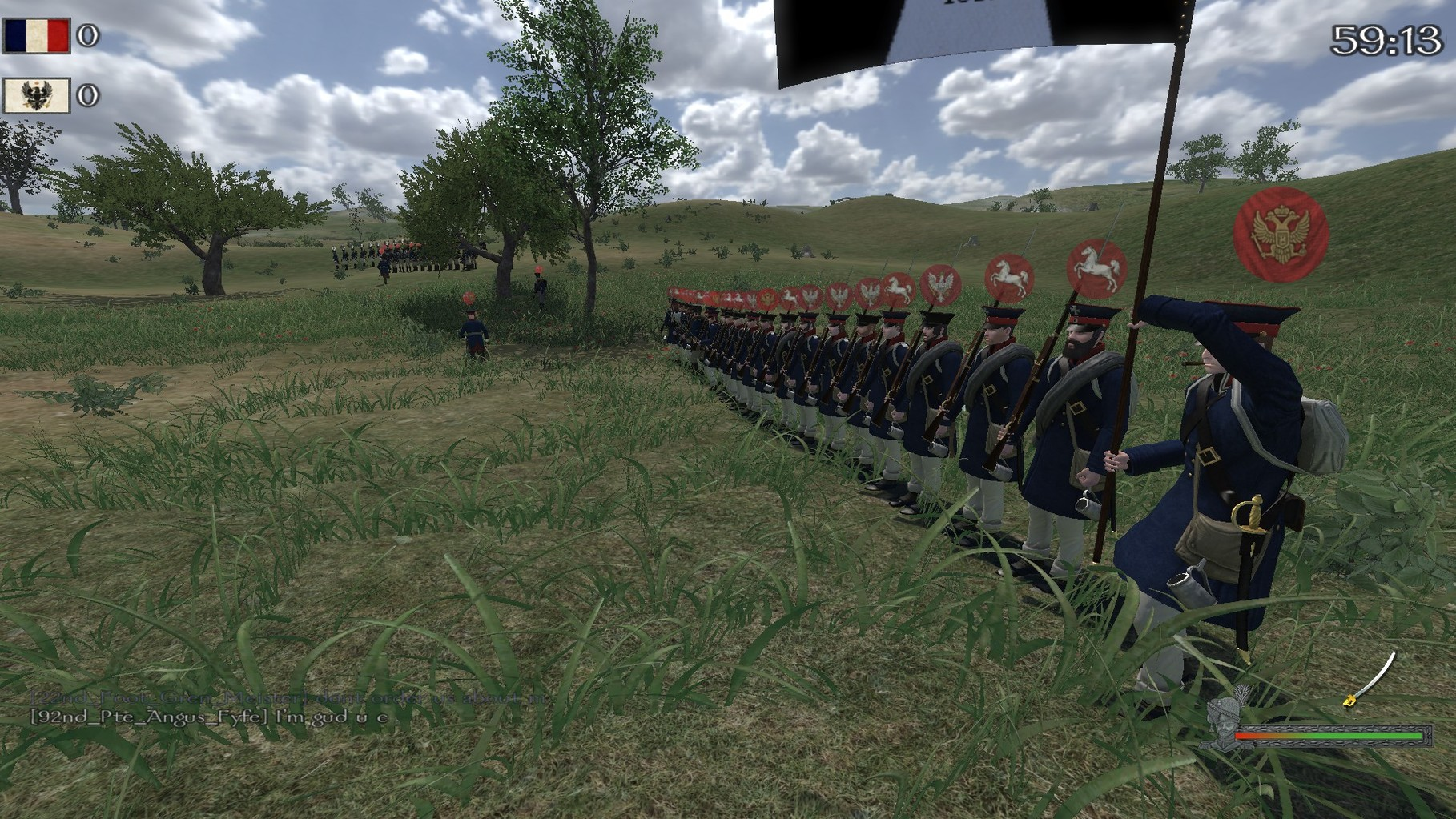 Zusammengeschlossen zu einer Linie unter anderem gegen die 6te Garde und die 84e.