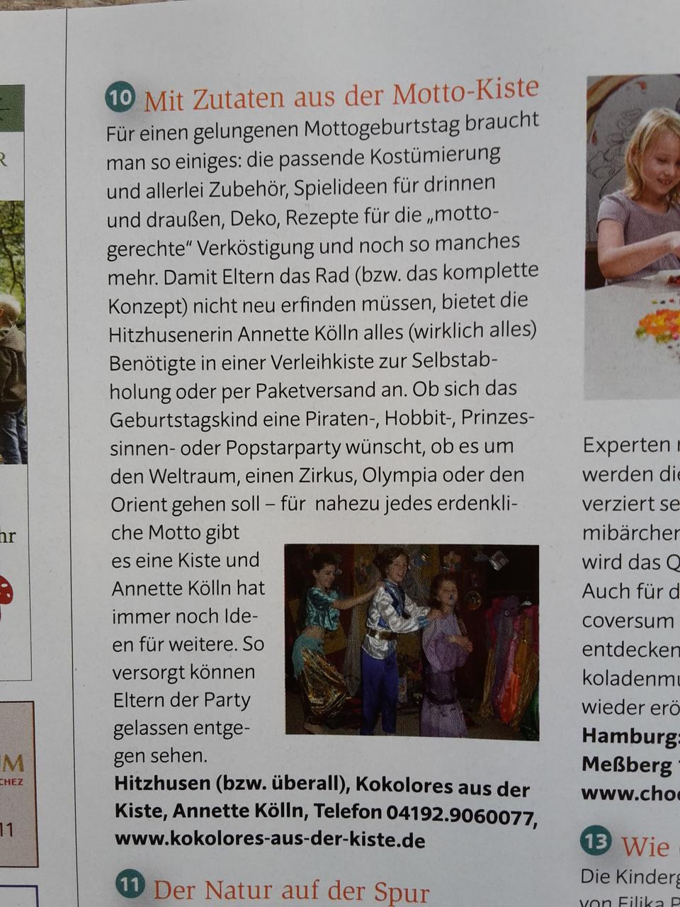 Artikel über Kokolores-aus-der-Kiste.de im Sonderteil Kindergeburtstage des Krabauter-Magazins