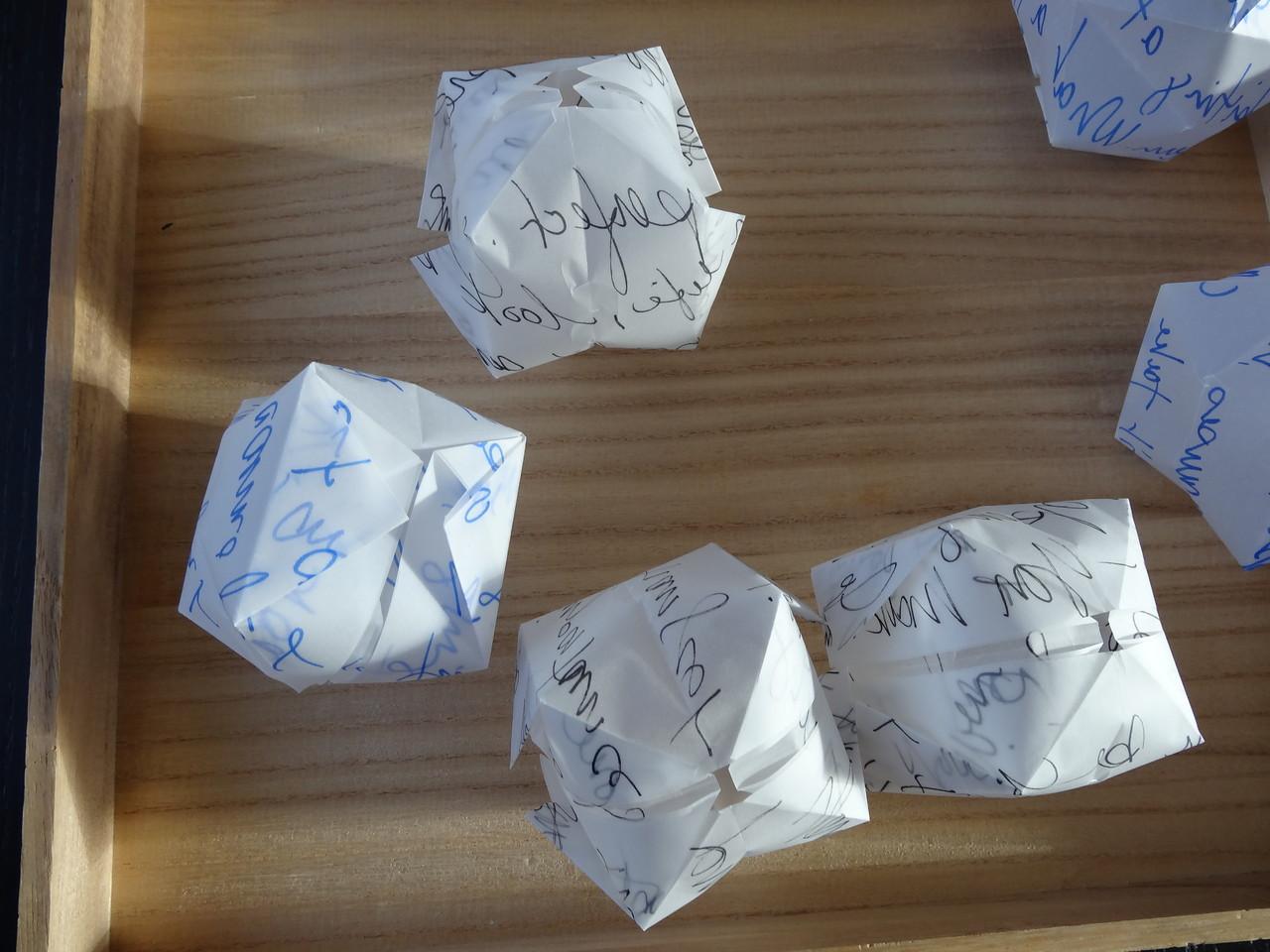 Origami balloons.