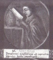 """Azelin als 16. Bischof von Hildesheim auf einem Gemälde mit Medaillondarstellungen aller Hildesheimer Bischöfe bis zum Ende des 18. Jahrhunderts; lateinische Inschrift: """"Er erlangte reichste Stiftungen von Kaiser Heinrich III."""""""