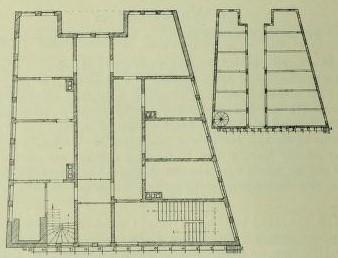Bild 1: Grundriß vor 1911; rechts oben: Rekonstruktion nach Lachner