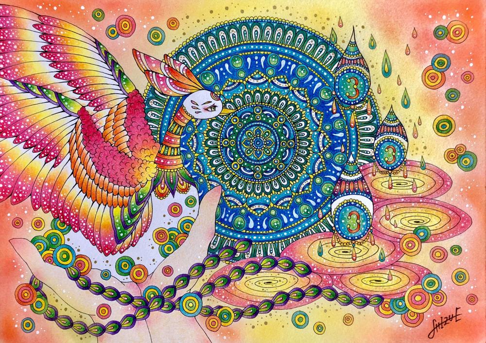 お客様が 魂の望む生き方をして、好きなところへ羽ばたいていく未来を描いていただきました。オーダー作品です。