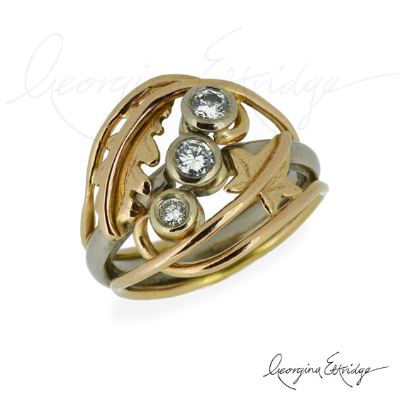 Quercus & Hederahelix Ring with Diamonds