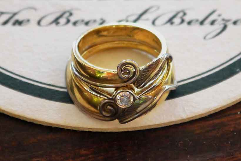 Beech Leaf Wedding Rings Custom