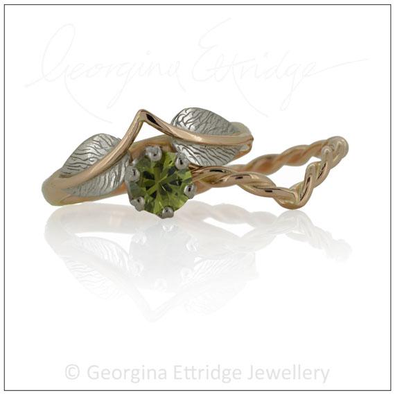 Engagement ring and wishbone wedding band